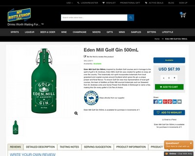Eden Mill Golf Gin 500mL - My Bottle Shop